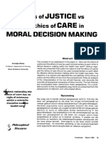 Ethics of justice vs the ethics of care in moral decision making