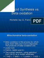 2311462 Fatty Acid Synthesis vs Beta Oxidation