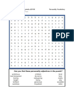 M2 Personality Vocabulary Word Search