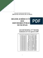 Lei Municipal nº 730 de 1994 - regime jurídico único dos servidores públicos municipais