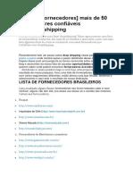 Lista de Fornecedores Dropshipping