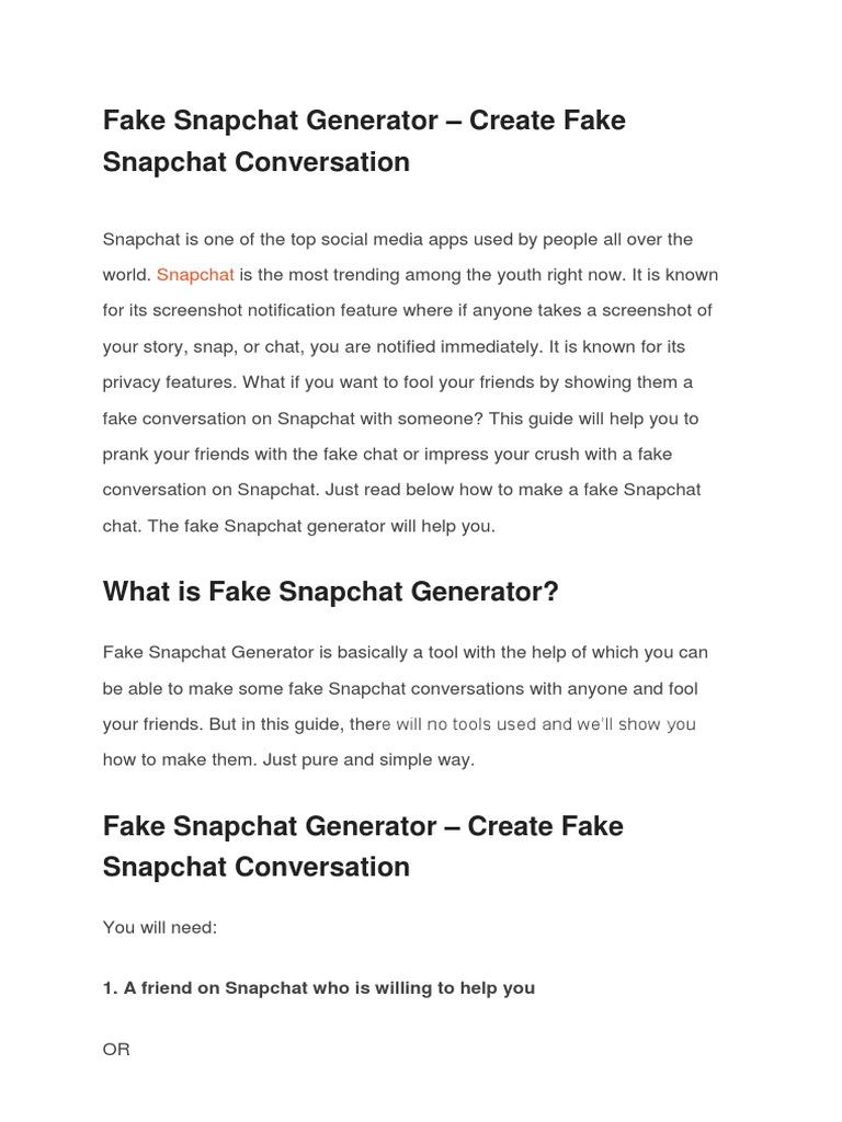 Fake snapchat chat app
