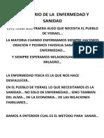 EL MISTERIO DE LA  ENFERMEDAD Y SANIDAD