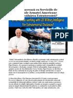 Vaticanul lucrează cu Serviciile de Informații ale Armatei Americane pentru Dezvăluirea Extraterestră