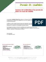 Déclaration sur l'honneur de la détention d'un permis de conduire en cours de validité