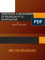 DIMENSIONS AND MEASURE OF BILINGUALITY AND BILINGUALISM EDITED