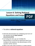 Lesson 6 Rational Equation