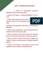 QUESTION BANK- International Business - Pillai