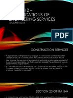 Section 2 – Classifications of Engineering Services