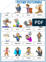 Feelings Emotions Vocabulary Esl Picture Dictionary Worksheet for Kids