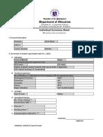 Individual Summary Sheet