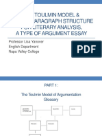 English 123 Toulmin Model and Essay Structure for Literary Analysis PowerPoint