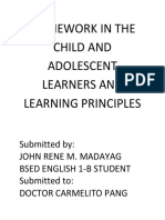 HOMEWORK IN THE CHILD AND ADOLESCENT LEARNERS AND LEARNING PRINCIPLES