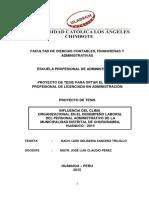 INFLUENCIA DEL CLIMA ORGANIZACIONAL EN EL DESEMPEÑO LABORAL DEL PERSONAL DEL PERSONAL ADMINISTRATIVO DE LA MUNICIPALIDAD