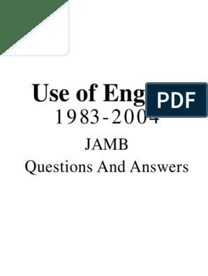 JAMB Use of English Past Questions 1984-2004.pdf | Rehabilitation  (Penology) | Quartz