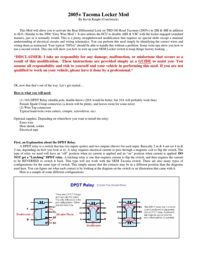 2005 Locker Mod Write Up Relay Switch
