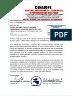 Carta Cenajupe a Dr. Vicente Zeballos, Presidente del Consejo de Ministros por pensiones a tono con RMV