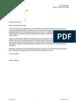 Letter to US Ambassador From Julian Assange 26 November 2010