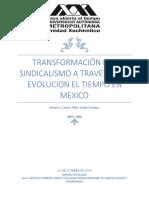 Ensayo; Transformación del sindicalismo a través de la evolución del tiempo en México
