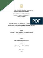 EL TALENTO HUMANO Y SU INFLUENCIA EN GERENTES PUBLICOS EN LA MUNICIPALIDAD DISTRITAL DE SAN ISIDRO