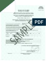 Certificado de Cuarentena de Colombia