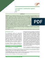 Inhibition profile of antibiotic combination against bacteria Escherichia coli
