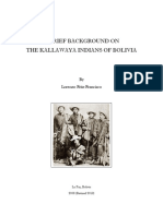 A BRIEF BACKGROUND ON THE KALLAWAYA INDIANS OF BOLIVIA