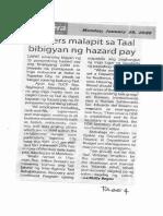 Bandera, Jan. 20, 2020, Workers malapit sa Taal bibigyan ng hazard pay.pdf