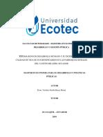 Bono de desarrollo humano y su incidencia en la calidad de vida de los beneficiarios