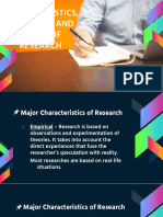 Characteristics, Processes and Ethics of Research