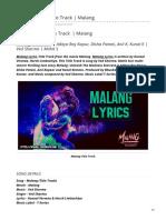 Malang Lyrics Title Track Malang
