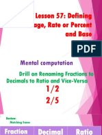 Lesson 57  Defining Percentage, Rate or Percent and Base