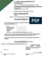 Contoh Rekomendasi Cabang Muhammadiyah