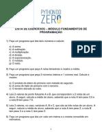 1 - Lista de Exercícios - Fundamentos de Programação