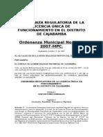 ORDENANZA No. 027-2007-Licencia Unica Funcionamiento corregida(1)