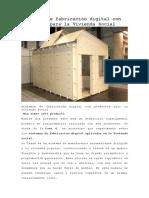 Sistemas de fabricación digital con productos para la Vivienda Social