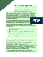 Caracteristicas del Niño Hiperactiv
