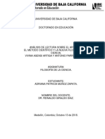 Informe de lectura N°2. El método científico y la nueva filosofía de la ciencia. A 2.