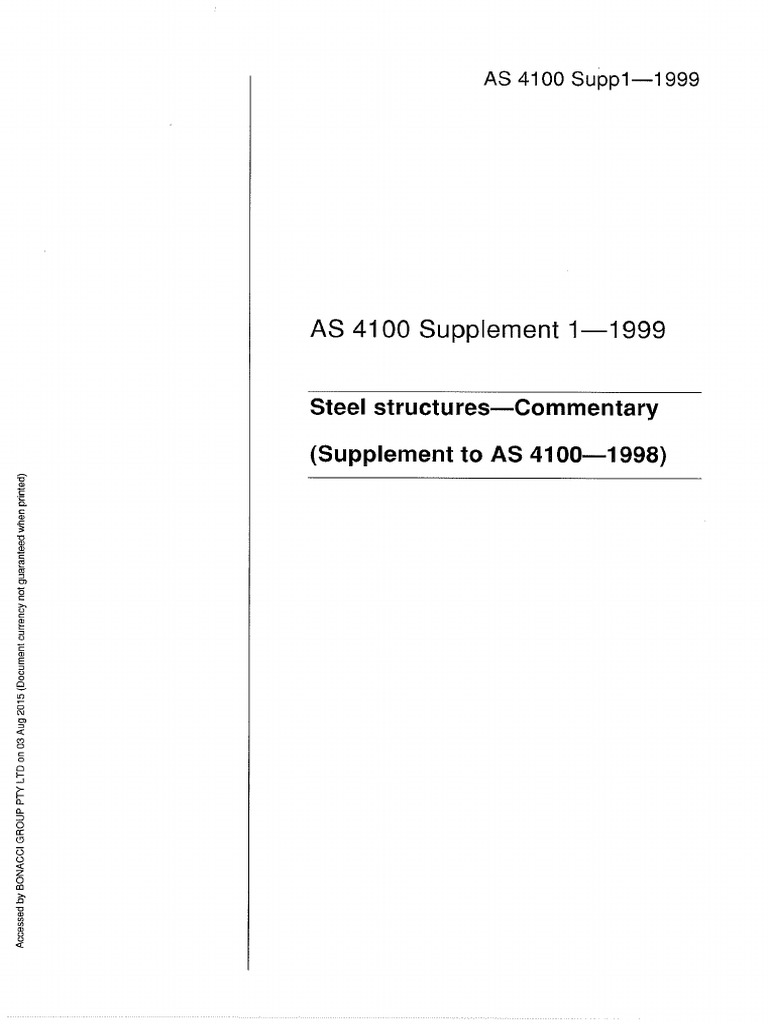 4100 Supp 1 1999 Steel Structures Commentary Supplement To As 4100 1998 Pdf