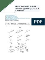 SK200 MK V Tools & Accessory Kobelco Excavator