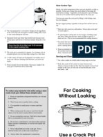 Crock Pot / Clow Cooker Fact Sheet