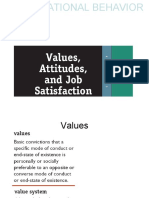 Values, attitudes and job satisfaction