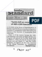 Manila Standard, Jan. 21, 2020, Tackle bill on renewal of ABS-CBN franchise.pdf