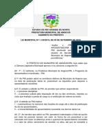 Prefeitura de Angicos - Lei Municipal Nº 1.128-2019 - Programa de Aposentadoria Incentivada