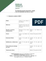 Proceso Matrícula 2020-1 Programas regionalizados Urabá