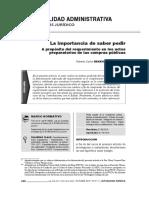 La Importancia de Saber Pedir. A propósito del requerimiento en los actos preparatorios de las compras públicas - Roberto Benavides Pontex