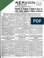 periódico El Nervión 20 octubre 1936 racionamiento en Bilbao
