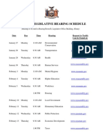 2020 Joint Legislative Hearing Schedule