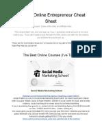 Ultimate Entrepreneur Online Cheat Sheet