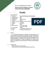 Sílabo de Economía Empresarial y Financiera, Unheval 2020-0
